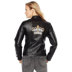Sheryl Crow Faux Leather Military Jacket-Crown